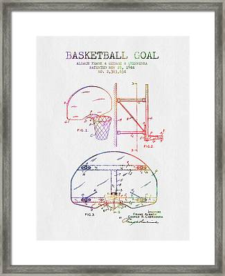 1944 Basketball Goal Patent - Color Framed Print by Aged Pixel