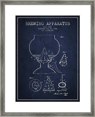 1944 Brewing Apparatus Patent - Navy Blue Framed Print by Aged Pixel