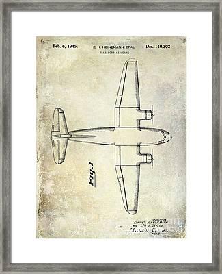 1945 Transport Airplane Patent Framed Print by Jon Neidert