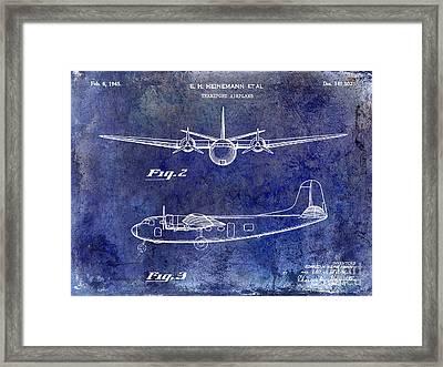 1946 Airplane Patent Blue Framed Print by Jon Neidert