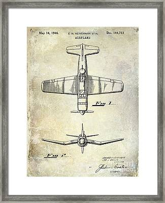 1946 Airplane Patent Framed Print by Jon Neidert