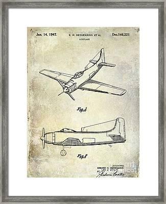 1947 Airplane Patent Framed Print by Jon Neidert