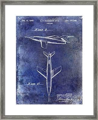 1947 Jet Airplane Patent Blue Framed Print by Jon Neidert