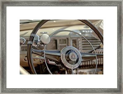 1948 Plymouth Deluxe Steering Wheel Framed Print by Jill Reger
