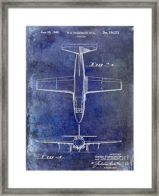 1949 Airplane Patent Drawing Blue Framed Print by Jon Neidert