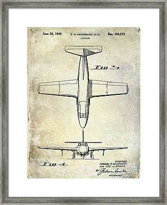 1949 Airplane Patent Drawing Framed Print by Jon Neidert