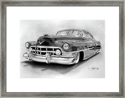 1950 Cadillac Drawing Framed Print by John Harding