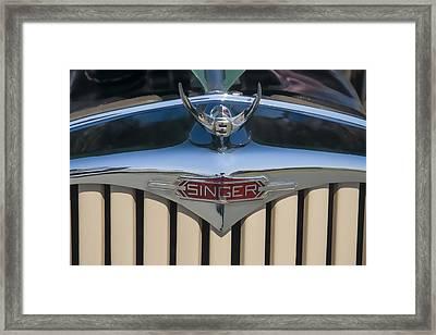 1950 Singer 9 Roadster Hood Ornament Framed Print by Chris Flees