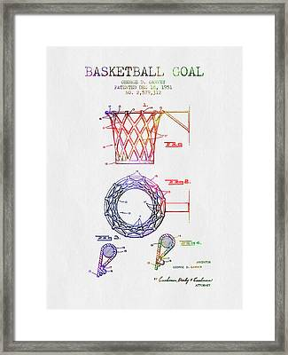 1951 Basketball Goal Patent - Color Framed Print by Aged Pixel