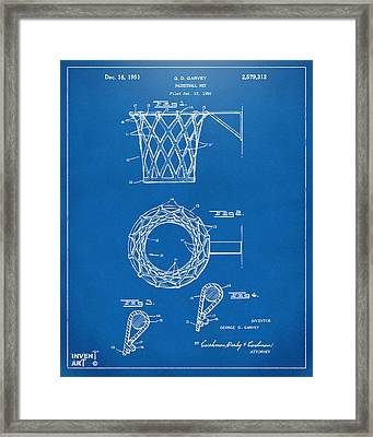 1951 Basketball Net Patent Artwork - Blueprint Framed Print by Nikki Marie Smith