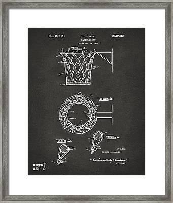1951 Basketball Net Patent Artwork - Gray Framed Print by Nikki Marie Smith