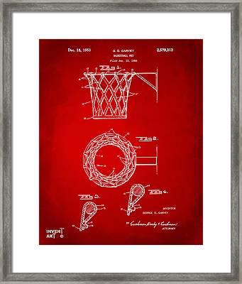 1951 Basketball Net Patent Artwork - Red Framed Print by Nikki Marie Smith