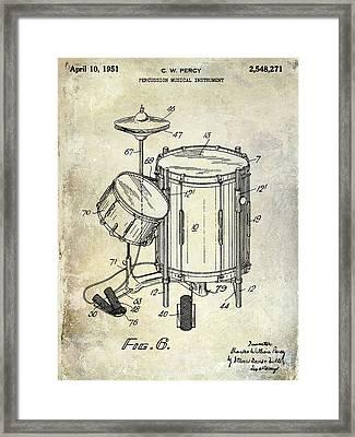1951 Drum Kit Patent  Framed Print by Jon Neidert