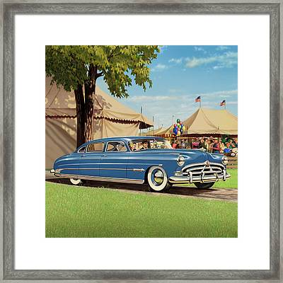 1951 Hudson Hornet - Square Format - Antique Car Auto - Nostalgic Rural Country Scene Painting Framed Print by Walt Curlee