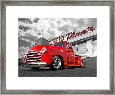 1952 Chevrolet Truck At The Diner Framed Print by Gill Billington