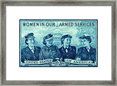 1952 Women In Military Service Stamp Framed Print by Historic Image