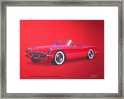 1953 Corvette Classic Vintage Sports Car Automotive Art Framed Print by John Samsen
