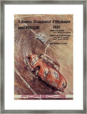 1954 Porsche Championat D'allemagne Framed Print by Georgia Fowler