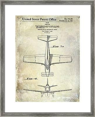 1955  Airplane Patent Drawing 2 Framed Print by Jon Neidert