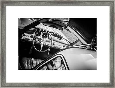 1955 Mercedes-benz 300sl Gullwing Steering Wheel - Race Car -0329bw Framed Print by Jill Reger