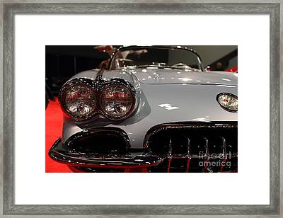 1956 Chevy Corvette . Front View Framed Print by Wingsdomain Art and Photography