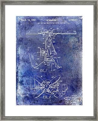 1956 Helicopter Patent Blue Framed Print by Jon Neidert