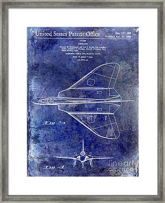 1956 Jet Airplane Patent Blue Framed Print by Jon Neidert