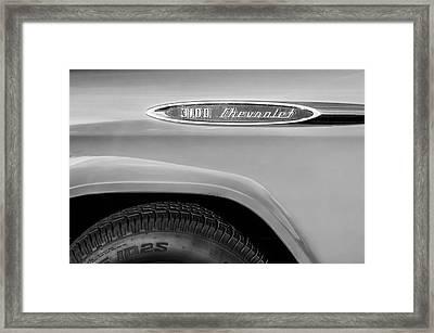 1957 Chevrolet 3100 Truck Emblem -0079bw Framed Print by Jill Reger