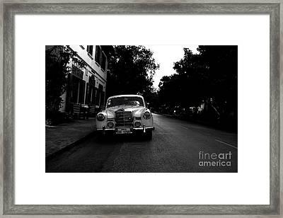 1957 Mercedes Sedan In Luang Prabang Laos Framed Print by Julia Hiebaum