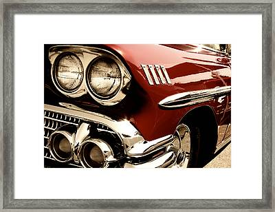 1958 Deep Red Chevy Framed Print by David Patterson