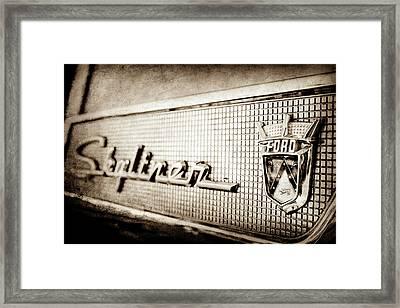 1958 Ford Fairlane Skyliner Hardtop Convertible Emblem -0437s Framed Print by Jill Reger