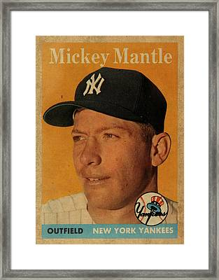 1958 Topps Baseball Mickey Mantle Card Vintage Poster Framed Print by Design Turnpike