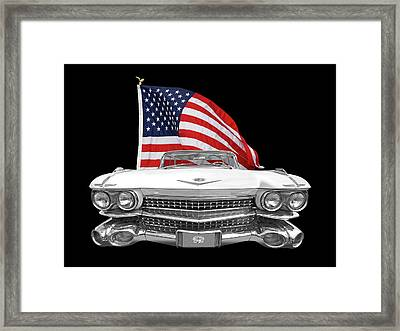 1959 Cadillac With Us Flag Framed Print by Gill Billington