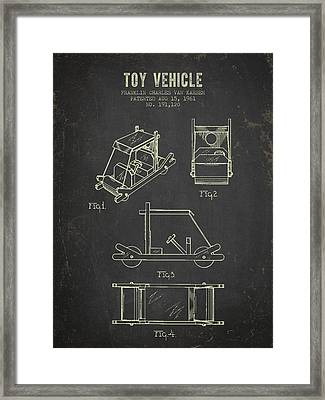 1961 Toy Vehicle Patent - Dark Grunge Framed Print by Aged Pixel