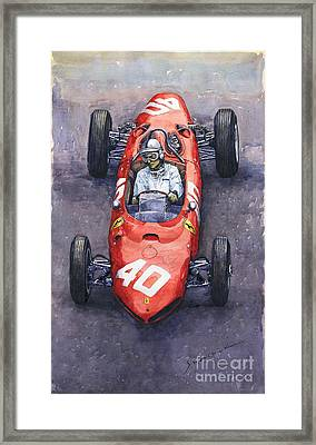 1962 Monaco Gp Willy Mairesse Ferrari 156 Sharknose Framed Print by Yuriy Shevchuk