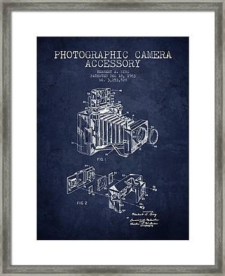 1963 Camera Patent - Navy Blue - Nb Framed Print by Aged Pixel