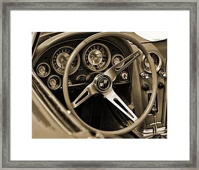 1963 Chevrolet Corvette Steering Wheel - Sepia Framed Print by Gordon Dean II