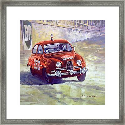 1963 Saab 96 #283  Rallye Monte Carlo  Carlsson Palm Winner Framed Print by Yuriy Shevchuk