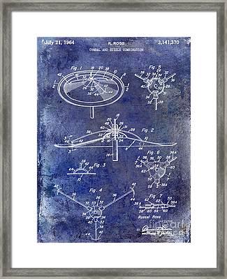 1964 Cymbal Patent Blue Framed Print by Jon Neidert