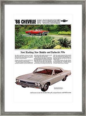 1966 Chevrolet Chevelle Turbo-jet V8's Framed Print by Digital Repro Depot