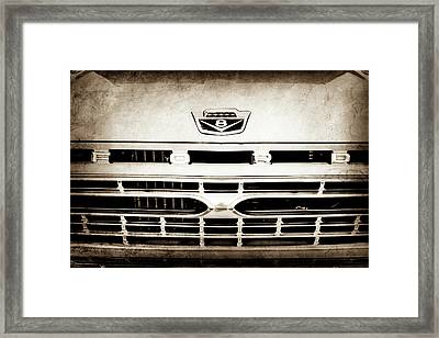 1966 Ford F100 Pickup Truck Grille Emblem -113s Framed Print by Jill Reger
