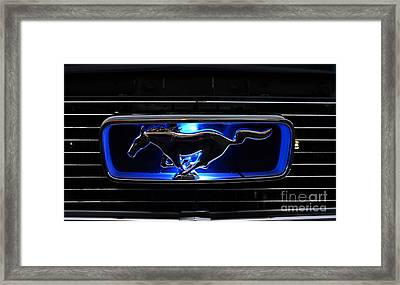 1966 Mustang Grill Emblem Glows Framed Print by Paul Ward