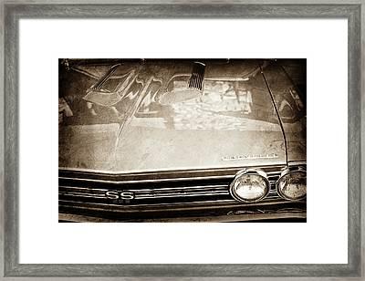 1967 Chevrolet Chevelle Super Sport Grille Emblem -0043s Framed Print by Jill Reger