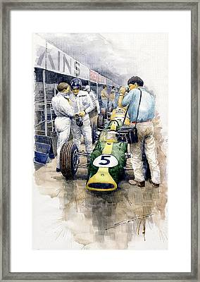 1967 Lotus 49t Ford Coswoorth Jim Clark Graham Hill Framed Print by Yuriy Shevchuk
