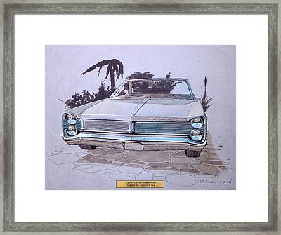 1967 Plymouth Fury  Vintage Styling Design Concept Rendering Sketch Framed Print by John Samsen