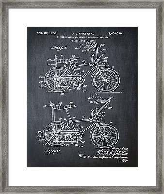 1968 Schwinn Stingray Patent In Chalk Framed Print by Bill Cannon