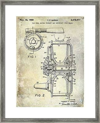 1969 Fly Reel Patent Framed Print by Jon Neidert