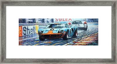 1969 Le Mans 24 Ford Gt 40 Ickx Oliver Winner  Framed Print by Yuriy Shevchuk