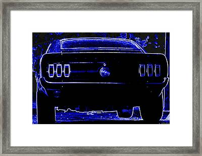 1969 Mustang In Neon 2 Framed Print by Susan Bordelon