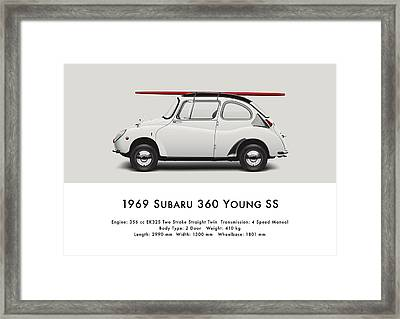 1969 Subaru 360 Young Ss - Creme Framed Print by Ed Jackson